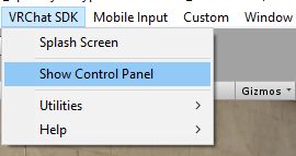 vrchat sdk show control panel