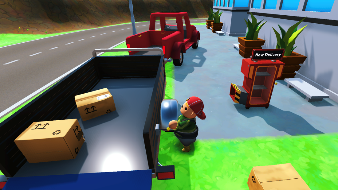 Character from the game Totally Reliable Delivery Service dropping a package to a vehicle