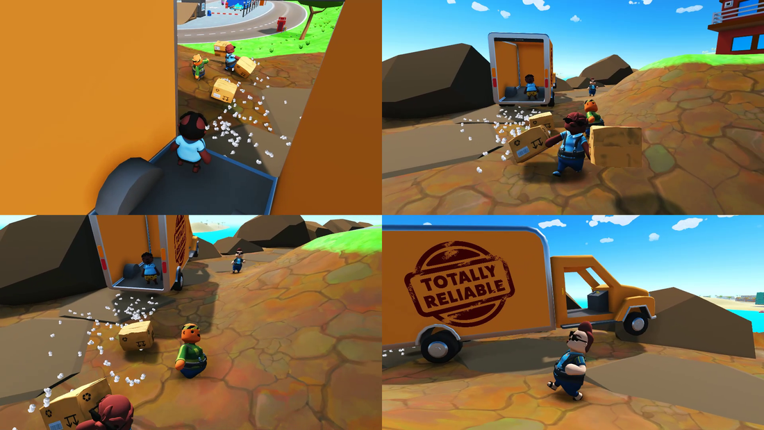 Collage from a mission of totally reliable delivery service with the yellow truck and friends playing online