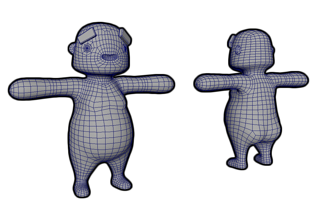Character wireframe with MayaLT front and back