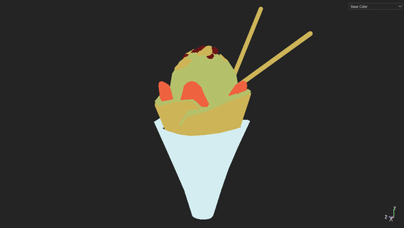 3d model of the crepe with base colors