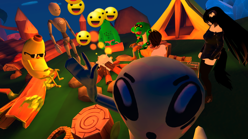 VRchat promo image with Polygonal Mind's avatars