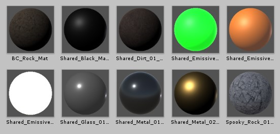 Unity materials for rock, metal, gold