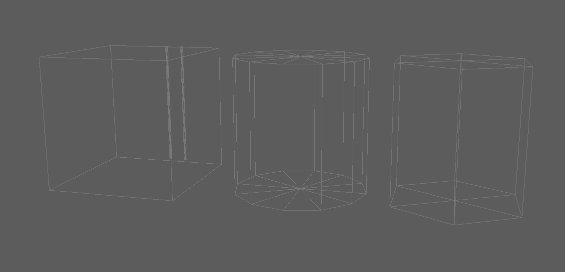 Square, cilinder and hexagonal wireframes