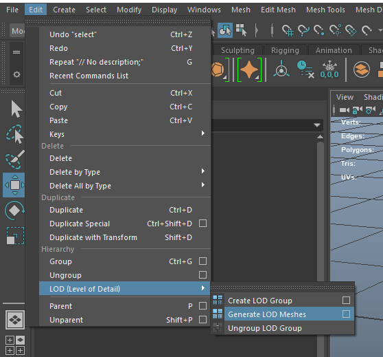 generate LOD meshes with Maya