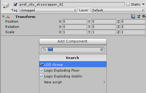 LOD group Unity 3D