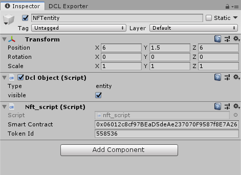 NFT data in the Unity inspector