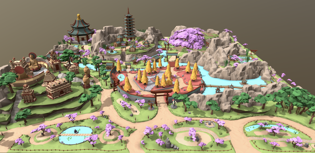 Decentraland Asian Plaza top view with AO