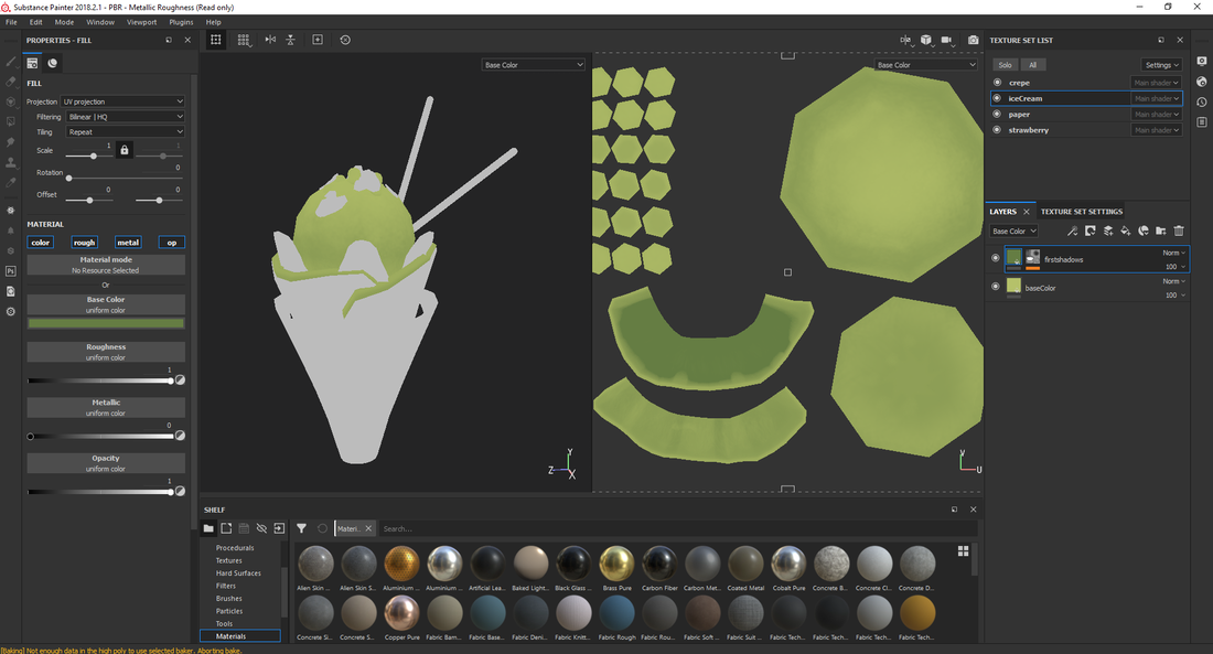 Crepe 3D substance painter color handpaint