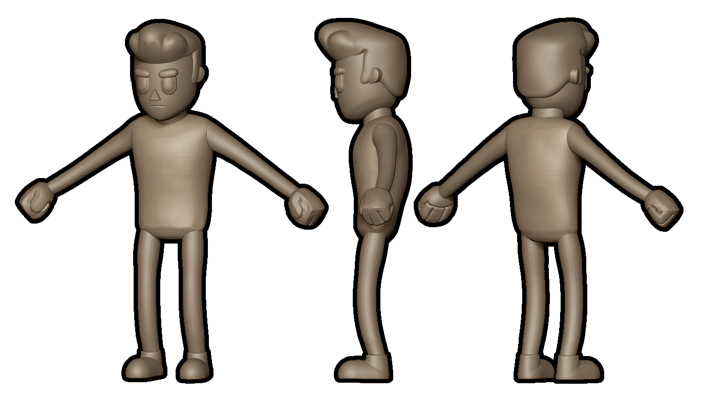 3d character model from different positions